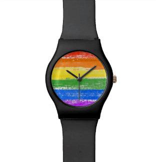 DE VERF VAN DE VLAG VAN DE REGENBOOG LGBT POLSHORLOGE