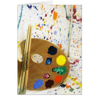 De Verf van kunstenaars ploetert en Pallet van Briefkaarten 0