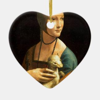 De verfDame van originele vinci van DA met een Keramisch Hart Ornament