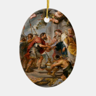 De vergadering van het Art. van Abraham en van Keramisch Ovaal Ornament