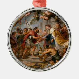 De vergadering van het Art. van Abraham en van Zilverkleurig Rond Ornament