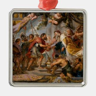 De vergadering van het Art. van Abraham en van Zilverkleurig Vierkant Ornament