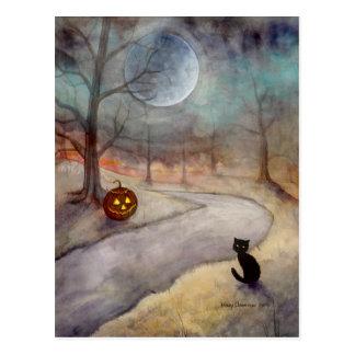 De vergeten Zwarte Kat en de Pompoen van Halloween Briefkaart