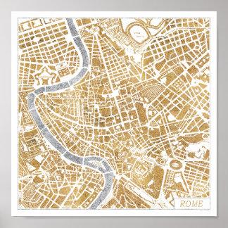 De vergulde Kaart van de Stad van Rome Poster
