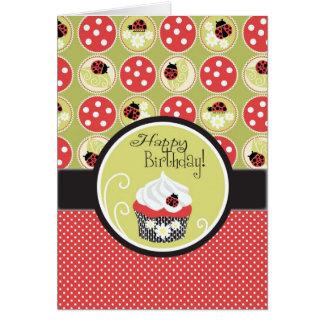 De Verjaardag Bug & Cupcake van de dame Wenskaart