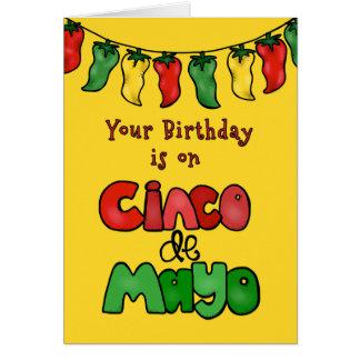 De verjaardag op Cinco DE Mayo, Mei het Heet is! Briefkaarten 0