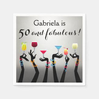 De Verjaardag van de cocktail party vijftigste Papieren Servet