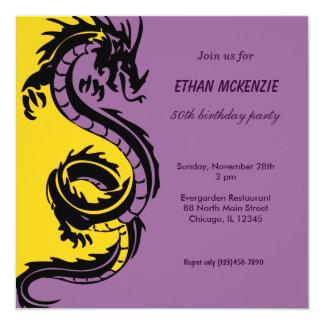 De Verjaardag van de draak 13,3x13,3 Vierkante Uitnodiging Kaart