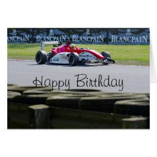 De verjaardag van de raceauto briefkaarten 0