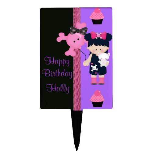 De Verjaardag van Girlie Cupcake van de gothic Cake Topper