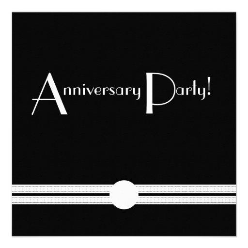 Het jubileum van het art deco nodigt in zwart wit 13 3x13 3 vierkante uitnodiging kaart zazzle - Deco corridor zwart wit ...