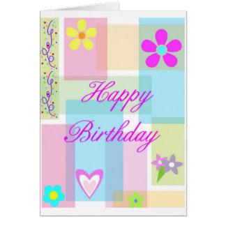 De Verjaardag van het Blok van de pastelkleur Kaart