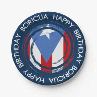 De Verjaardag van het Thema van Boricua van de Papieren Bordje