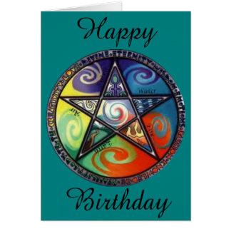 De Verjaardag van Pentagram van Wiccan Kaart