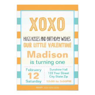 De Verjaardag van XOXO Valentijn nodigt uit (blauw 12,7x17,8 Uitnodiging Kaart