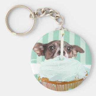 De verjaardagscake van Chihuahua Sleutelhanger