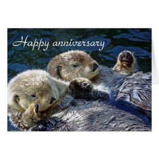 De verjaardagskaart van otters wenskaart
