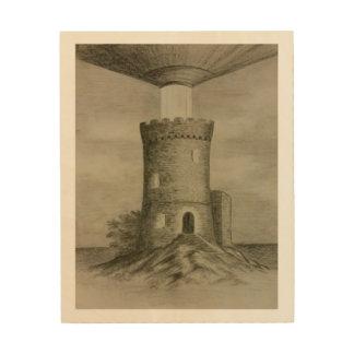 De verlichting van de toren houten canvas print