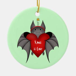 De verliefde gotische knuppel van Kerstmis Rond Keramisch Ornament