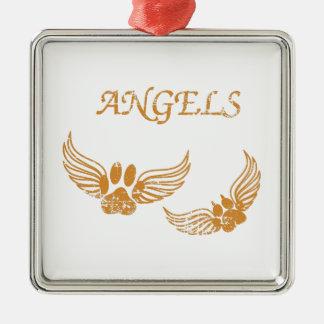 De verontruste Poten van het Huisdier van de Engel Zilverkleurig Vierkant Ornament