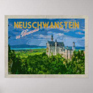 De Verontruste Vintage Reis van Neuschwanstein Poster