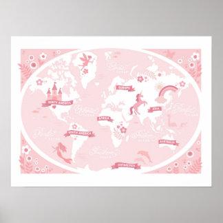 De verrukte Roze Kaart van de Wereld - het Art. Poster