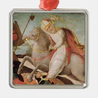 De verschijning van St. Ambrose Zilverkleurig Vierkant Ornament