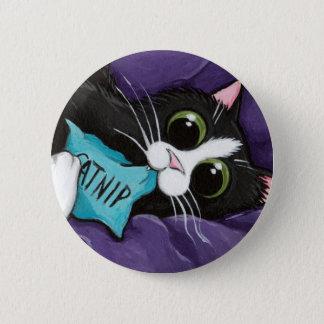 De Verslaafde van Catnip - de Knoop van de Kunst Ronde Button 5,7 Cm