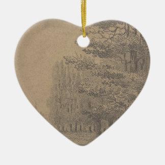 De verwezenlijking van het landschap van keramisch hart ornament