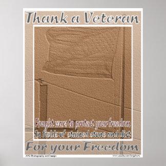 De veteraan van Buitenlandse Oorlogen dankt u druk Poster