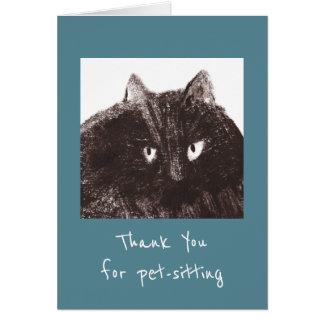 De vette huisdier-Babysitter van de Kat dankt u Kaart