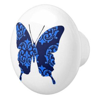 De Victoriaans Blauw van de Collage van de vlinder Keramische Knop