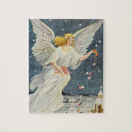 De Victoriaans Engel van vintage Kerstmis met de Puzzel