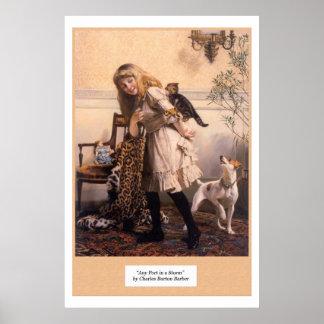 De Victoriaans Hond van de Katjes van het Meisje Poster
