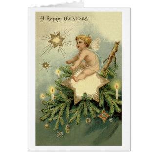 De Victoriaans Kerstkaart van de Engel van Kerstmi Wenskaart