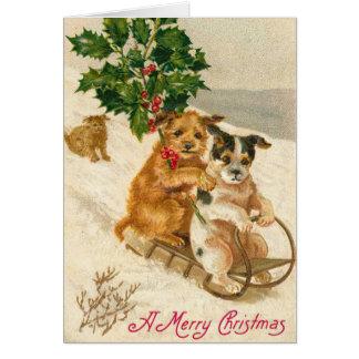 De Victoriaans Kerstkaart van de Hond Kaart