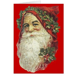 De Victoriaans Kerstkaart van de Kerstman - Rood Wenskaart