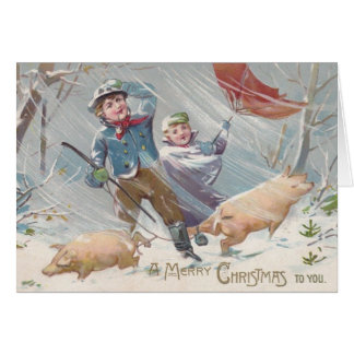 De Victoriaans Kerstkaart van Kinderen en van Kaart