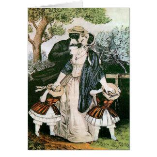 De Victoriaans Vintage Illustratie van de Kus van Wenskaart