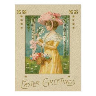 De Victoriaans Vrouw Pasen kleurde de Geschilderde Briefkaart