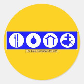 De vier Belangrijkste elementen voor het Leven Ronde Sticker