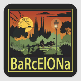 De Vierkante Glanzende Stickers van Barcelona,