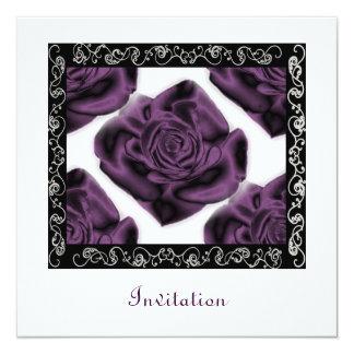De Vierkante Uitnodiging van paarse Rozen