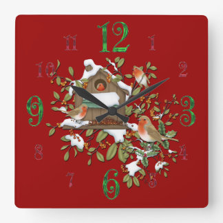 De vierkante Winter Robin Bird House Wall Clock Vierkante Klok