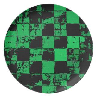 De vierkanten van Grunge, zwart en groen Party Bord