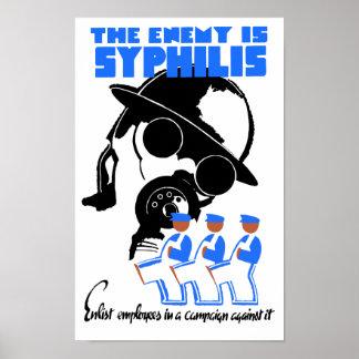 De vijand is Syfilis - WPA Poster