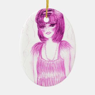 De Vin van het Meisje van de partij in Heet Roze Keramisch Ovaal Ornament