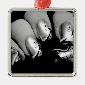 De Vingernagels van de ontwerper Zilverkleurig Vierkant Ornament