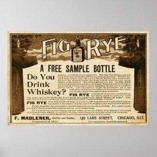 De vintage Advertentie van de Whisky van de Rogge Poster