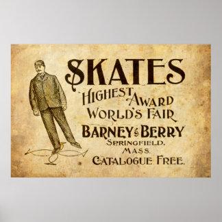 De vintage Advertentie van Schaatsen van 1899 Poster